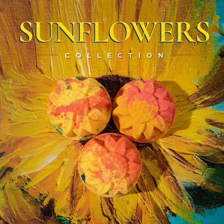 Image-Sunflowers-Bath Bomb Trio-Lifestyle with title-Text-NA-1x1-NA